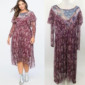 Eloquii NWT wine floral sheer long sleeve dress 14